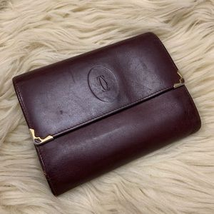 Vintage Cartier Trifold burgundy wallet
